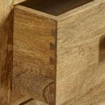 Mantis Light Natural Solid Mango 2 Drawer Bedside Table - Thumbnail 5