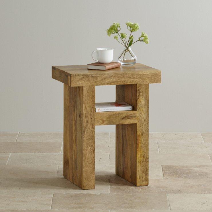 Mantis Light Natural Solid Mango Bedside Table with Shelf