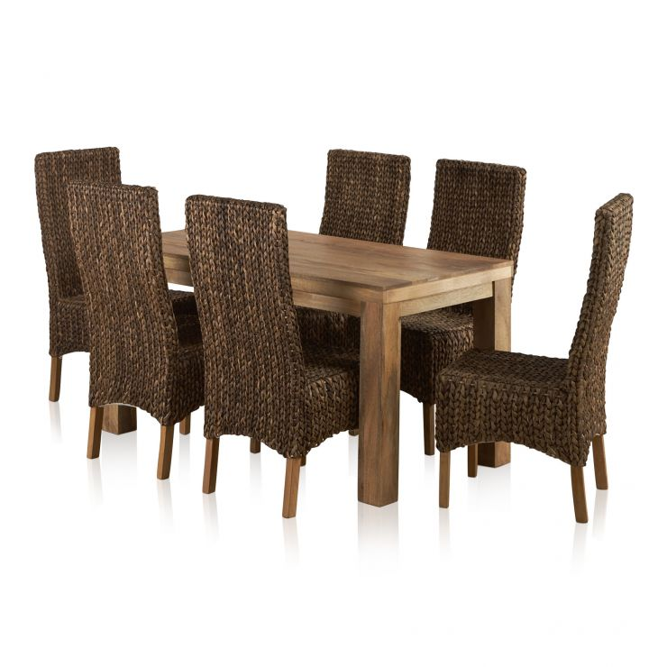 Mantis Light Natural Solid Mango Dining Set - 5ft Table with 6 High Back Grass Chairs