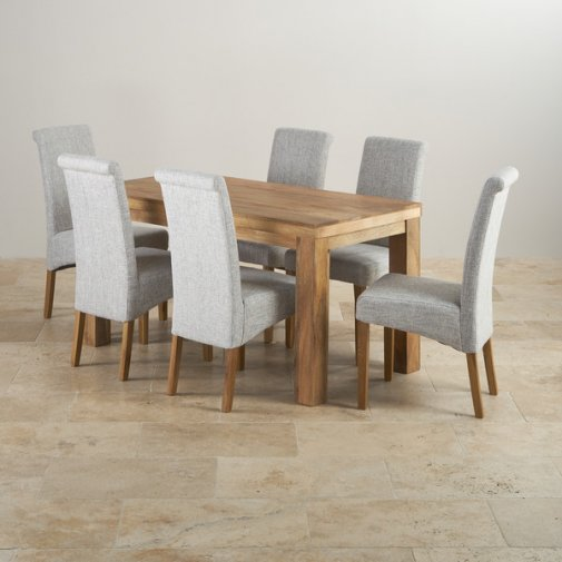 Dining Set Dining Table and Chairs Oak Furniture Land : mantis light natural solid mango dining set 5ft table with 6 scroll back plain grey fabric chairs 5714cf3622da3af86071e5ae8d3d2f7e4eacc74fe33c8 from www.oakfurnitureland.co.uk size 505 x 505 jpeg 32kB