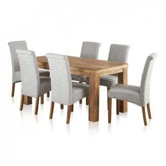 Mantis Light Natural Solid Mango Dining Set - 5ft Table with 6 Scroll Back Plain Grey Fabric Chairs