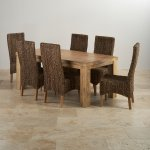Mantis Light Natural Solid Mango Dining Set - 6ft Table with 6 High Back Grass Chairs - Thumbnail 2