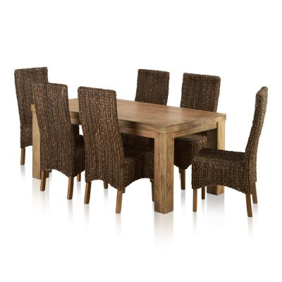 Mantis Light Natural Solid Mango Dining Set - 6ft Table with 6 High Back Grass Chairs