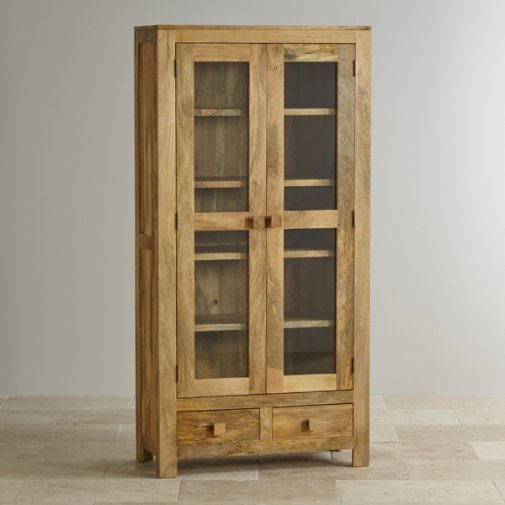 Mantis Light Natural Solid Mango Glazed Display Cabinet
