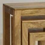 Mantis Light Natural Solid Mango Nest of Tables - Thumbnail 4