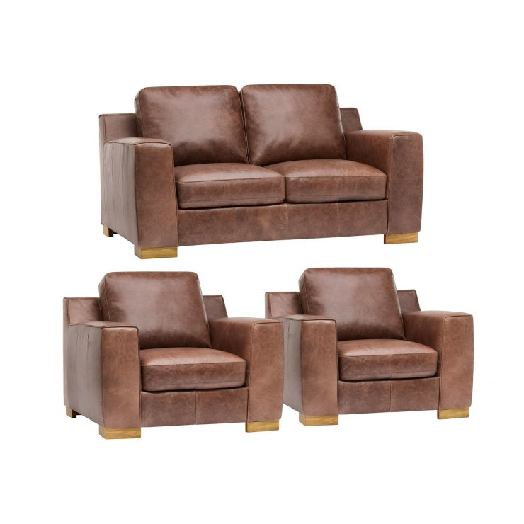 Marco 2 Seater Sofa + 2 Armchairs - Brown Vintage Leather