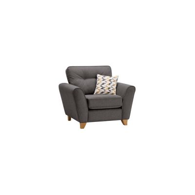 Memphis Armchair in Chase Fabric - Charcoal