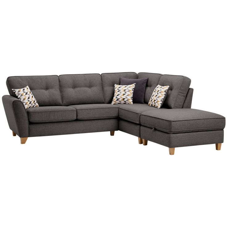 Memphis Left Hand Corner Sofa in Chase Fabric - Charcoal
