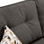 Memphis Left Hand Corner Sofa in Chase Fabric - Charcoal - Thumbnail 6