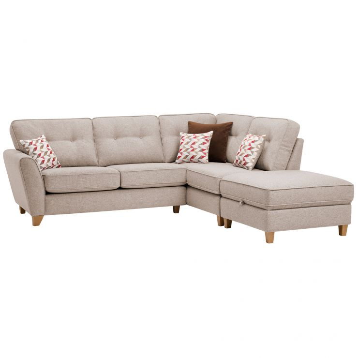 Memphis Left Hand Corner Sofa in Chase Fabric - Natural - Image 1