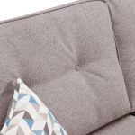 Memphis Left Hand Corner Sofa in Chase Fabric - Silver - Thumbnail 5