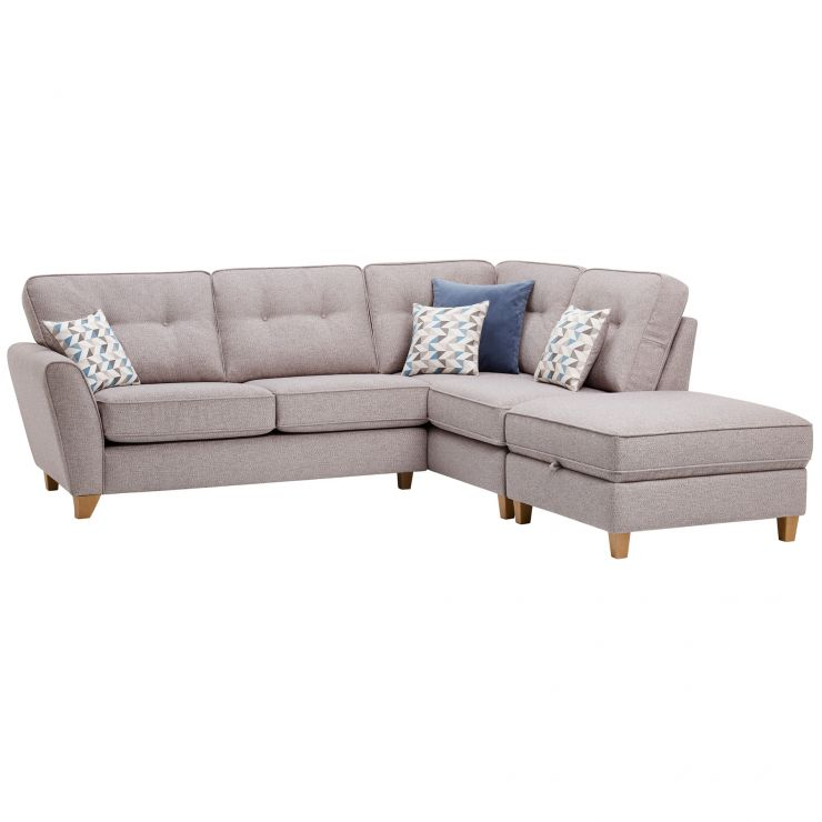 Memphis Left Hand Corner Sofa in Chase Fabric - Silver