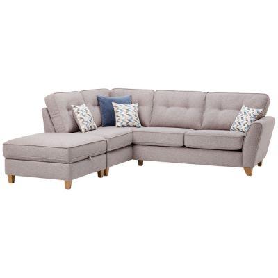 Memphis Right Hand Corner Sofa in Chase Fabric - Silver