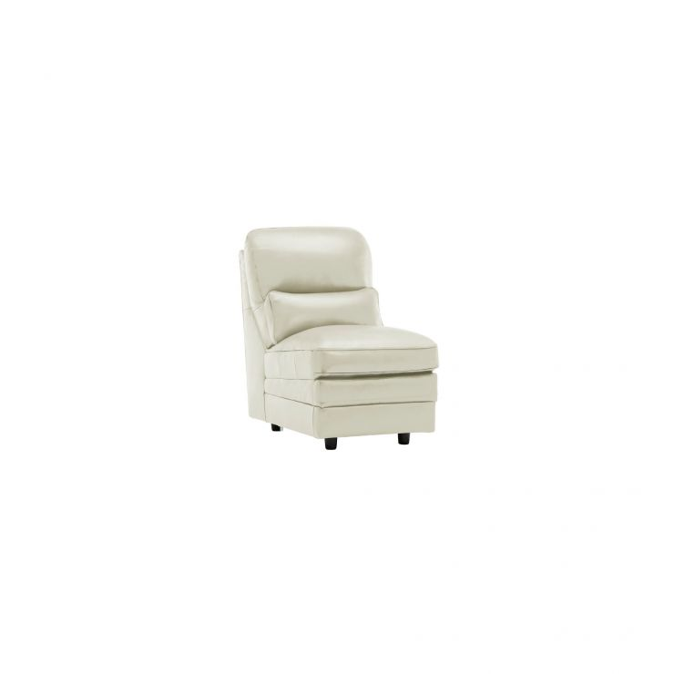 Modena Armless Module in Off White Leather - Image 4