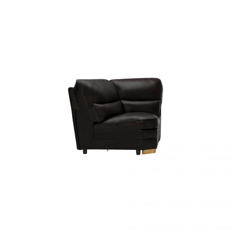 Modena Corner Module in Black Leather - Image 2