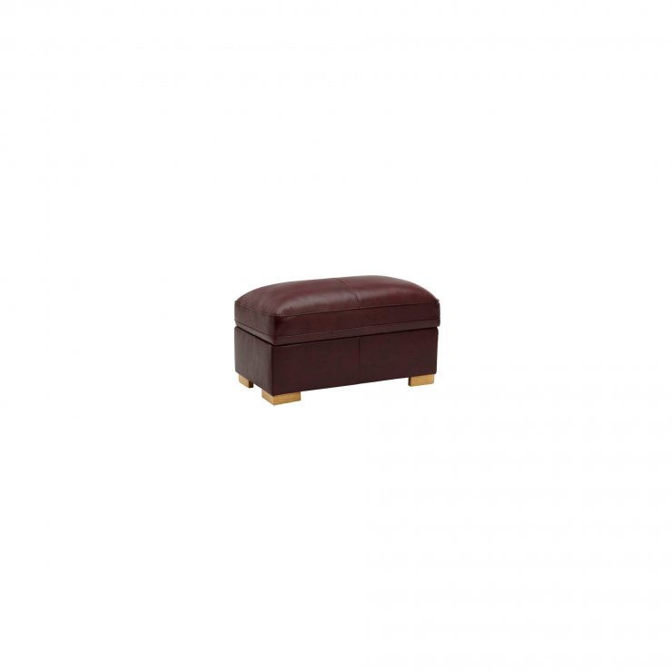 Modena Footstool in Burgundy Leather - Image 2