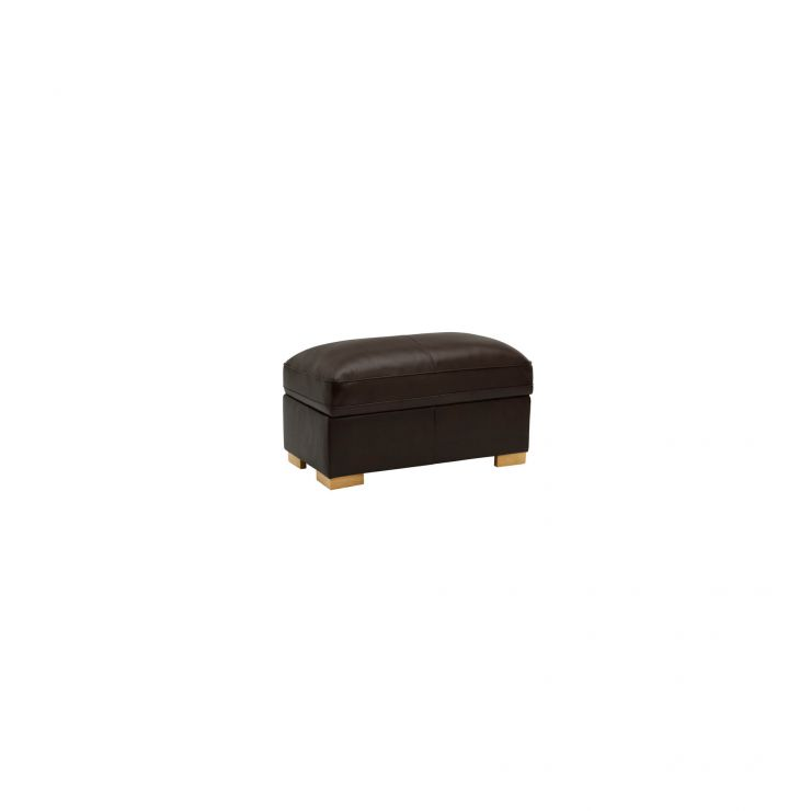 Modena Footstool in Dark Brown Leather - Image 2