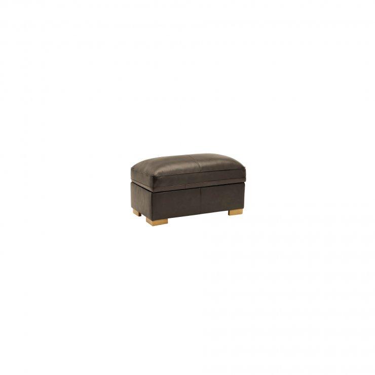 Modena Footstool in Dark Grey Leather - Image 2