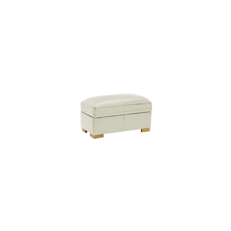 Modena Footstool in Off White Leather - Image 2