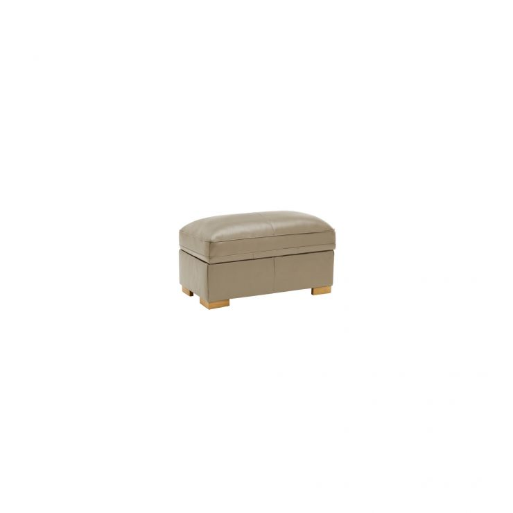 Modena Footstool in Taupe Leather - Image 2