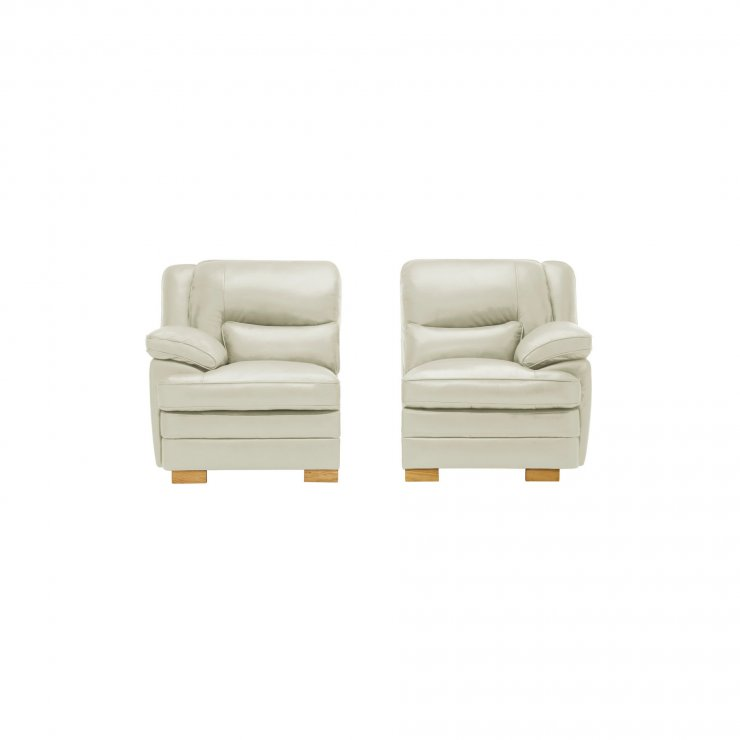 Modena Right Arm Module in Off White Leather - Image 1