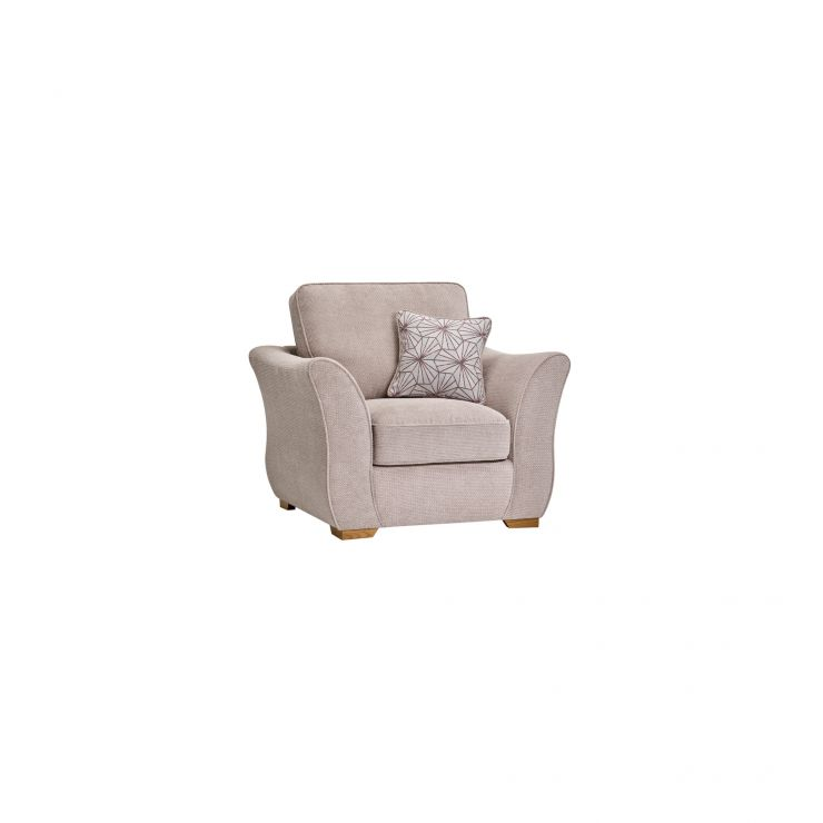 Monaco Armchair in Rich Beige Fabric with Blush Scatters