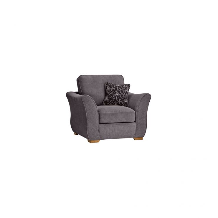 Monaco Armchair in Rich Charcoal Fabric with Charcoal Scatters