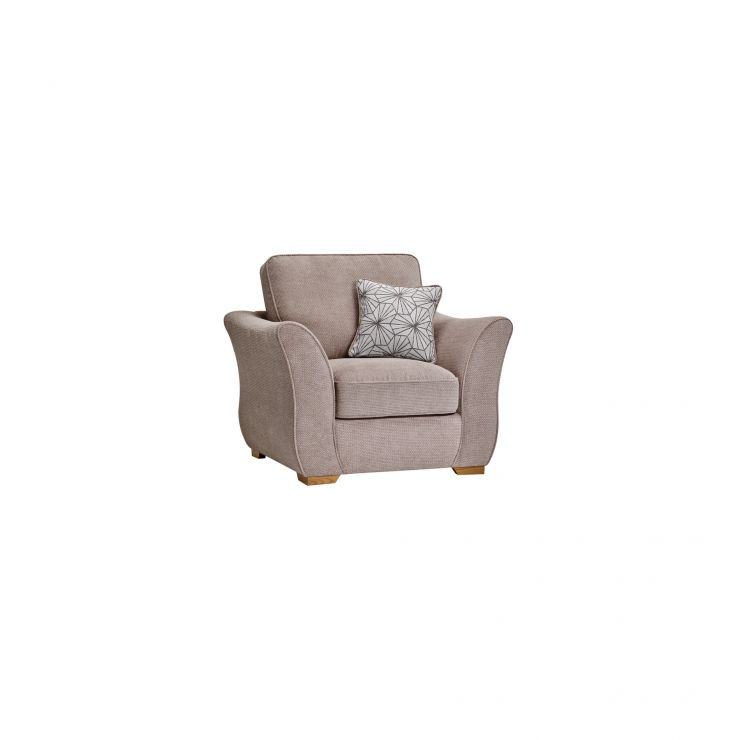 Monaco Armchair in Rich Mink Fabric with Pebble Scatters