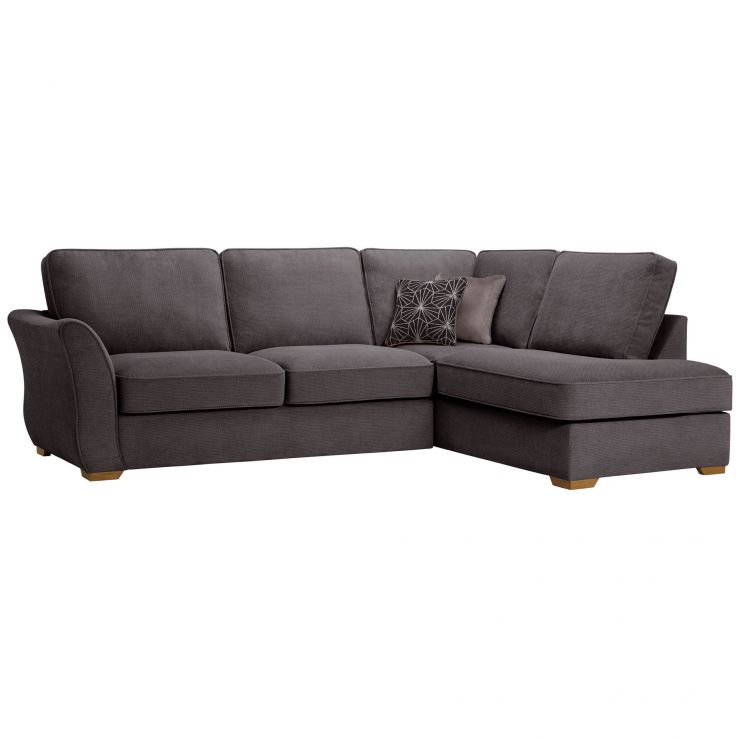 Monaco Left Hand High Back Corner Sofa in Rich Charcoal Fabric with Charcoal Scatters - Image 1