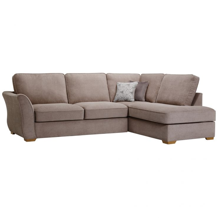 Monaco Left Hand High Back Corner Sofa in Rich Mink Fabric with Pebble Scatters