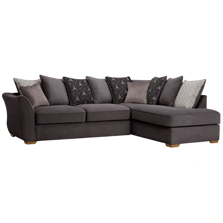 Monaco Left Hand Pillow Back Corner Sofa in Rich Charcoal Fabric with Charcoal Scatters