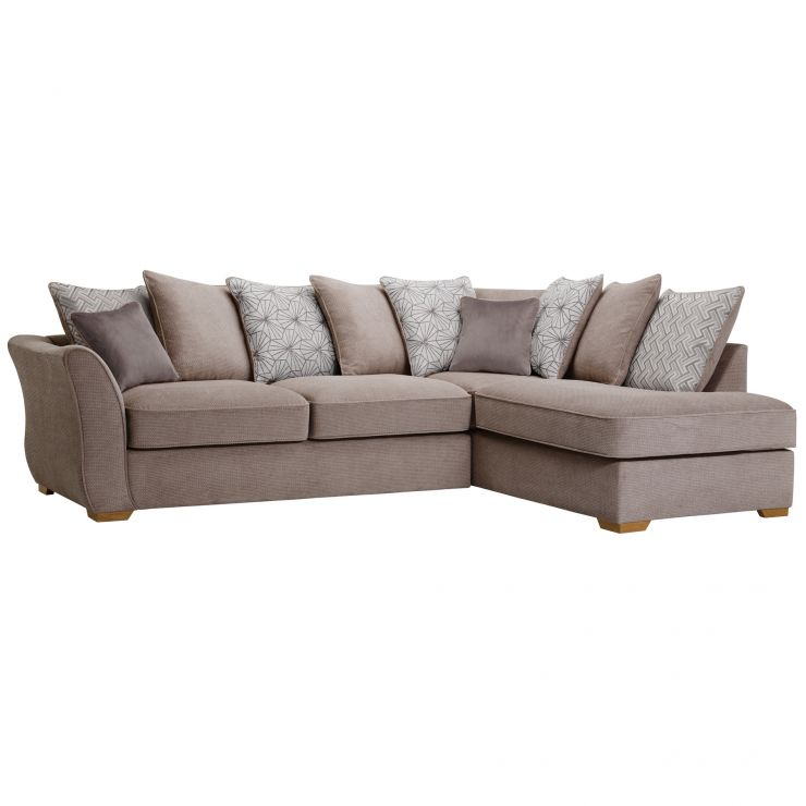 Monaco Left Hand Pillow Back Corner Sofa in Rich Mink Fabric with Pebble Scatters
