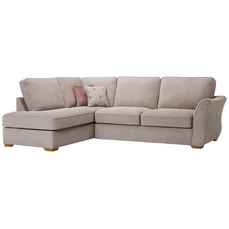 Monaco Right Hand High Back Corner Sofa in Rich Beige Fabric with Blush Scatters