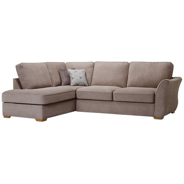 Monaco Right Hand High Back Corner Sofa in Rich Mink Fabric with Pebble Scatters - Image 5