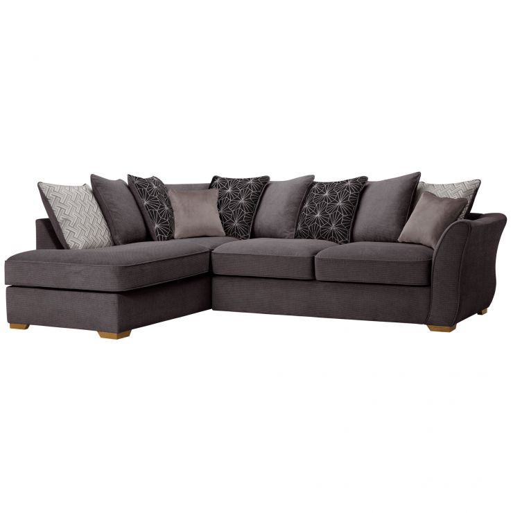 Monaco Right Hand Pillow Back Corner Sofa in Rich Charcoal Fabric with Charcoal Scatters