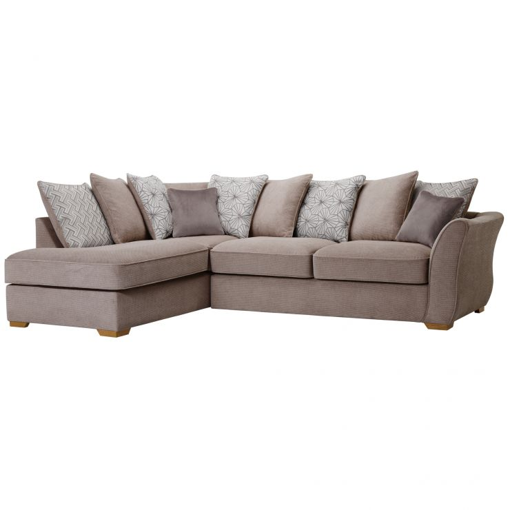 Monaco Right Hand Pillow Back Corner Sofa in Rich Mink Fabric with Pebble Scatters