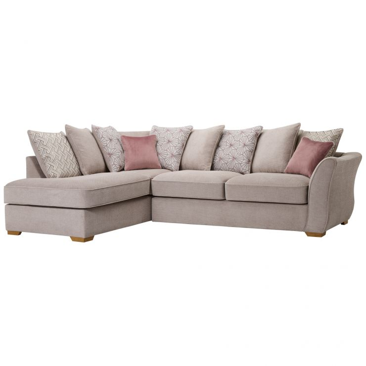 Monaco Right Hand Pillow Back Corner Sofa in Rich Stone Fabric with Blush Scatters