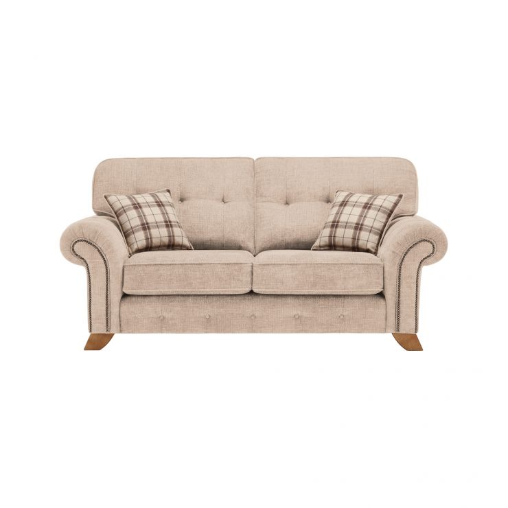 Montana 2 Seater High Back Sofa in Beige with Tartan Scatters - Image 1