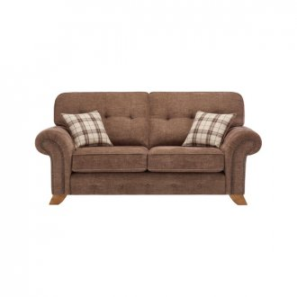 Montana 2 Seater High Back Sofa in Brown with Tartan Scatters