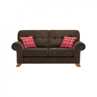 Montana 2 Seater High Back Sofa in Charcoal with Tartan Scatters