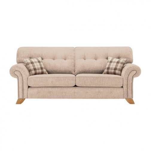 Montana 3 Seater High Back Sofa in Beige with Tartan Scatters