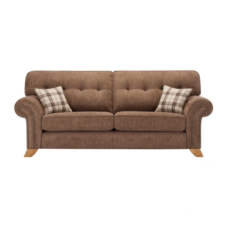 Montana 3 Seater High Back Sofa in Brown with Tartan Scatters - Image 1