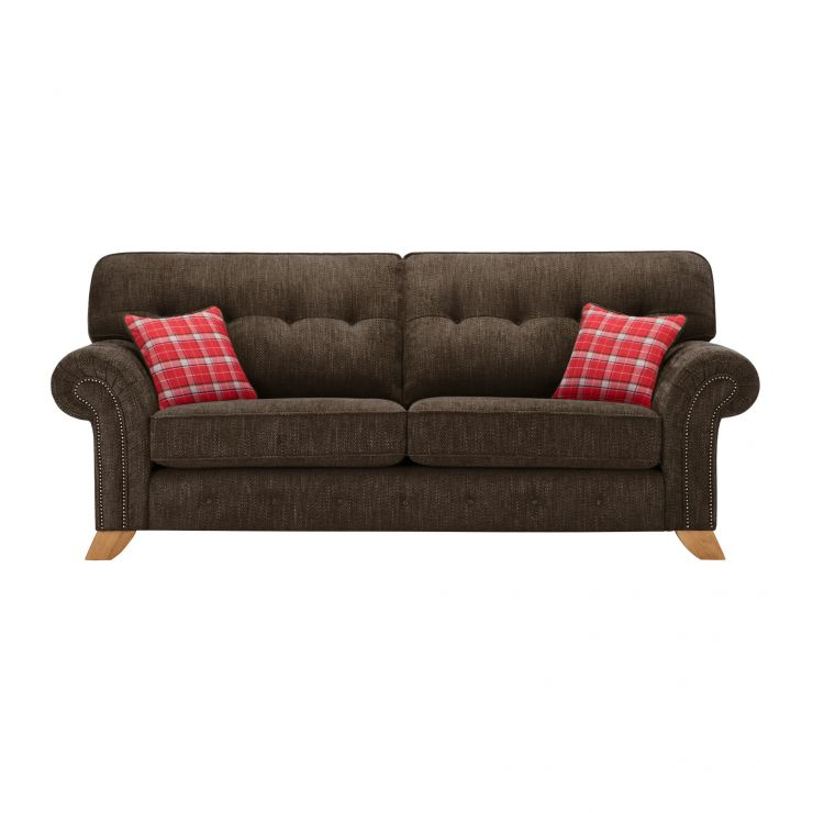 Montana 3 Seater High Back Sofa in Charcoal with Tartan Scatters - Image 1