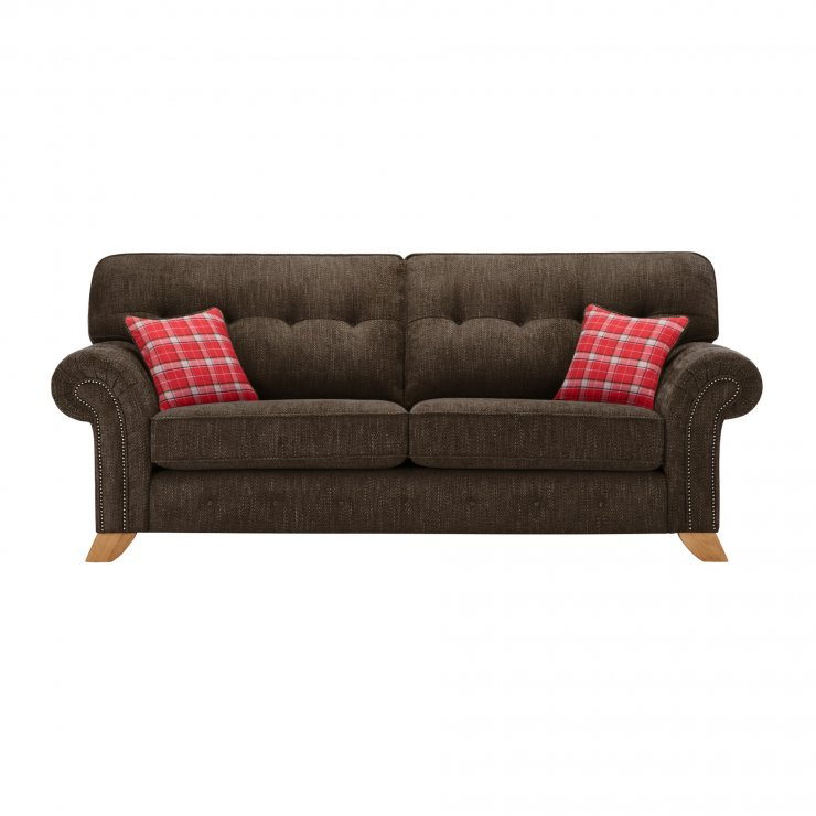 Montana 3 Seater High Back Sofa in Charcoal with Tartan Scatters