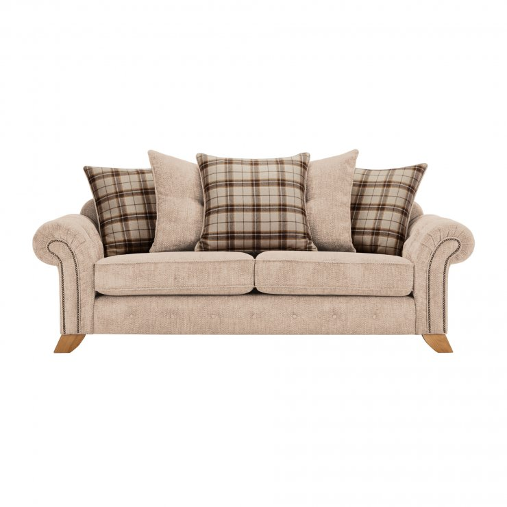 Montana 3 Seater Pillow Back Sofa in Beige with Tartan Scatters