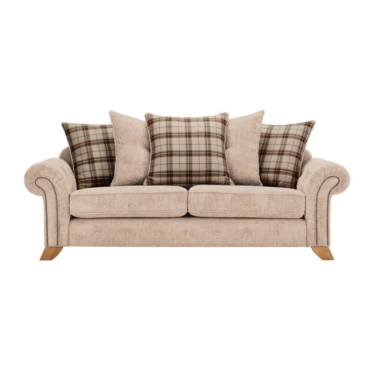 Montana 3 Seater Pillow Back Sofa in Beige with Tartan Scatters - Image 1