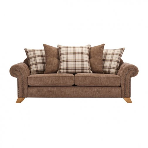 Montana 3 Seater Pillow Back Sofa in Brown with Tartan Scatters