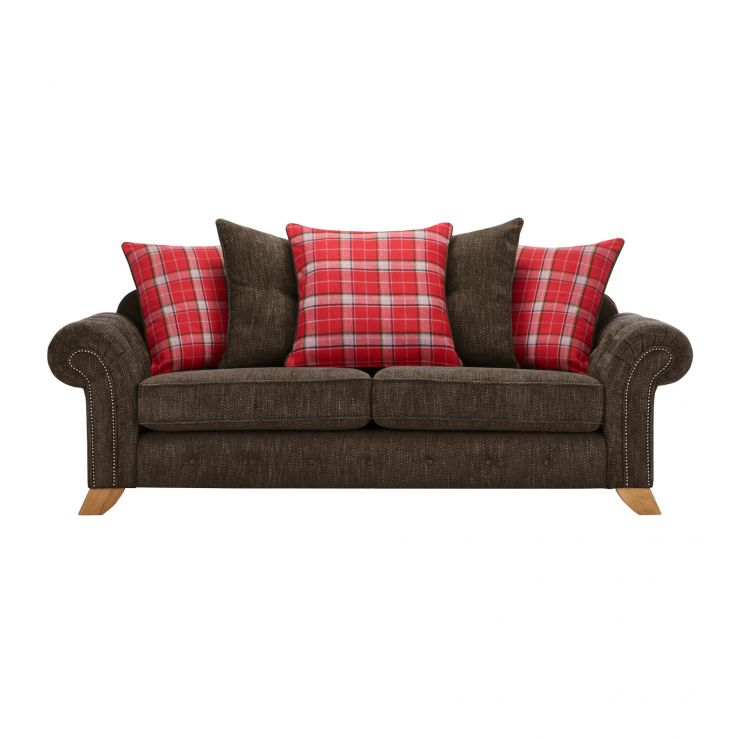 Montana 3 Seater Pillow Back Sofa in Charcoal with Tartan Scatters - Image 1