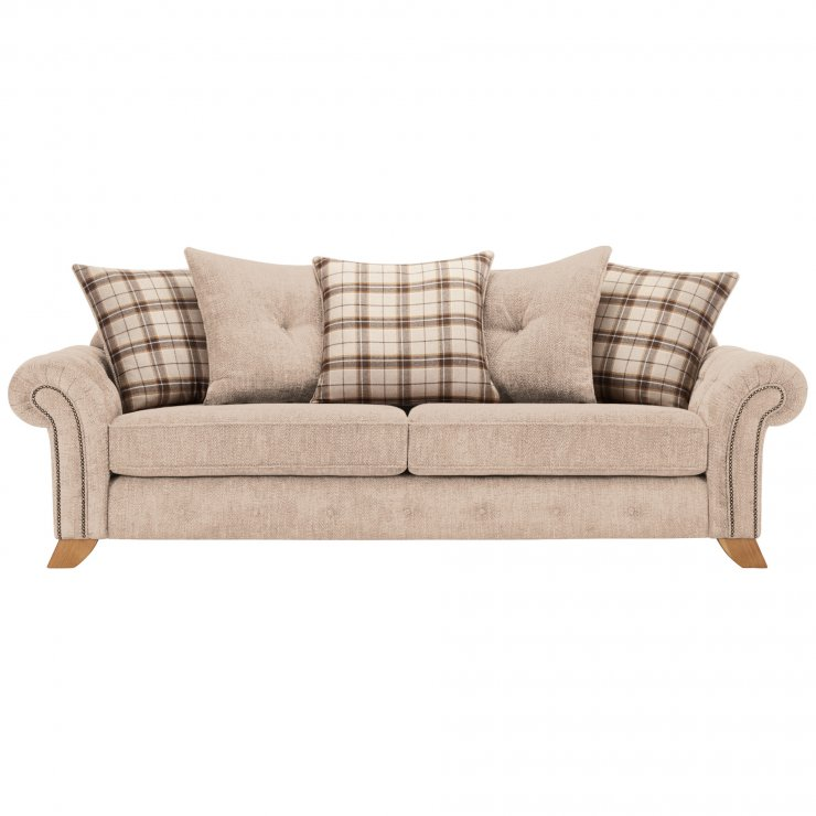 Montana 4 Seater Pillow Back Sofa in Beige with Tartan Scatters