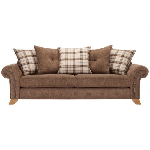 Montana 4 Seater Pillow Back Sofa in Brown with Tartan Scatters